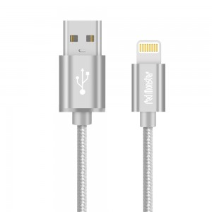 CABLE AIRNERGY NYLON™ LIGHTNING SYNC CHARGE CABLE SILVER (0.18M)