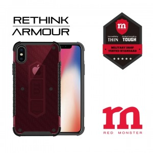RETHINK ARMOUR Carbon Case for iPhone X - (Fibre Red)