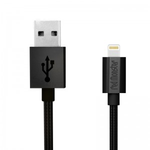NYLON LIGHTNING USB 0.18M (Black)