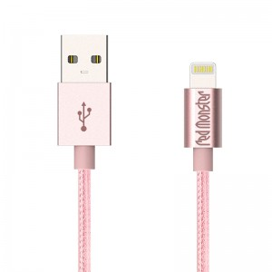 NYLON LIGHTNING USB 0.18M (Rose Gold)