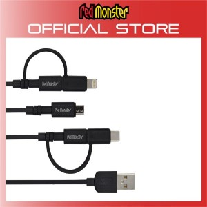 CABLE AIRNERGY NYLON COMPACT™ TOUGH COMPACT™ 3 IN 1 SyncCharge Cable BLACK (0.18M)