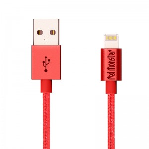 NYLON LIGHTNING USB 1.2M (Red)